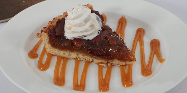 Pecan Crostata with Caramel Sauce and Whipped Cream