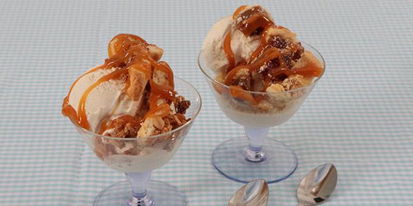Pecan and Apple Tart Sundaes with Ice Cream and Caramel Sauce